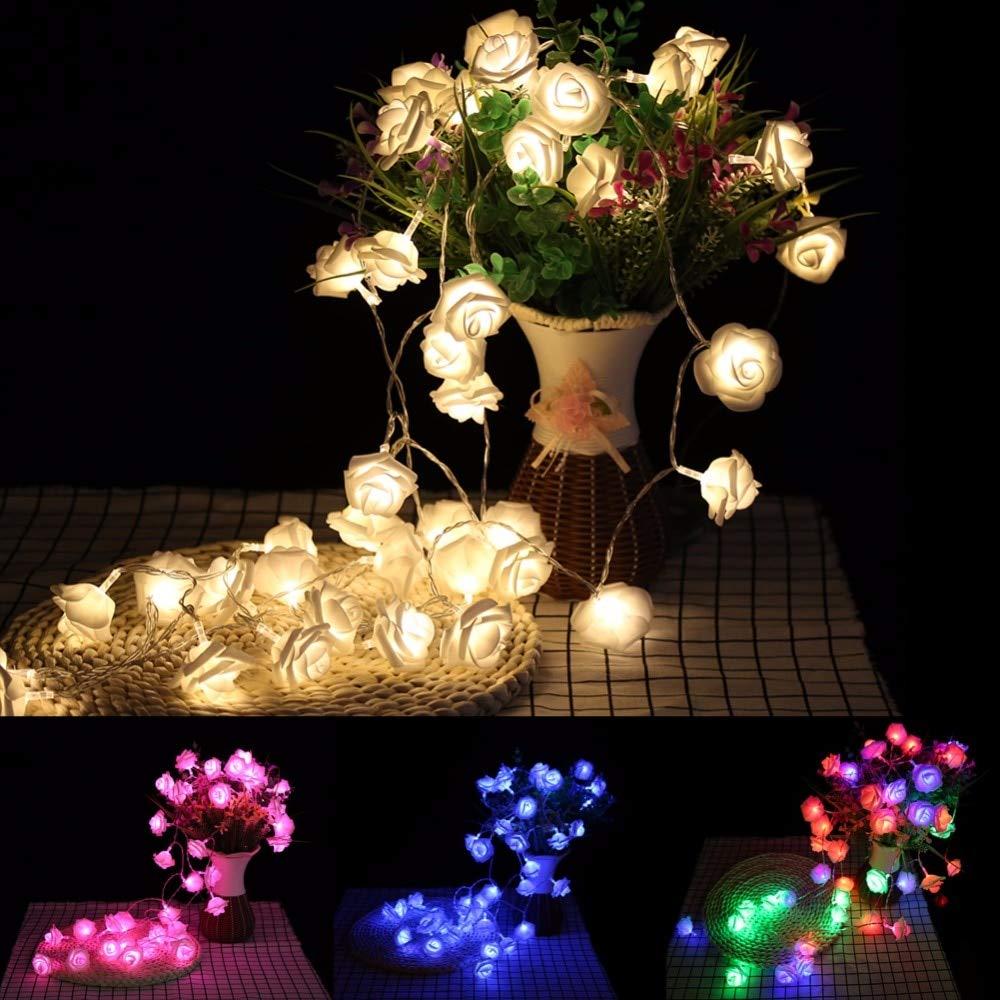 20 LED Rose Flower Xmas String Lights Fairy Wedding Christmas Party Garden Decor