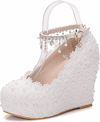 Crystal Queen Wedges Pumps Heels White Lace Wedding Shoes White Wedges High  Heels Lace and Pearls Weeding Pumps