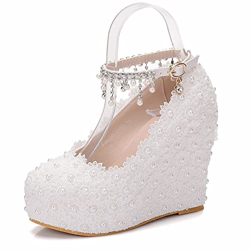 Amazon Com Crystal Queen Wedges Pumps Heels White Lace