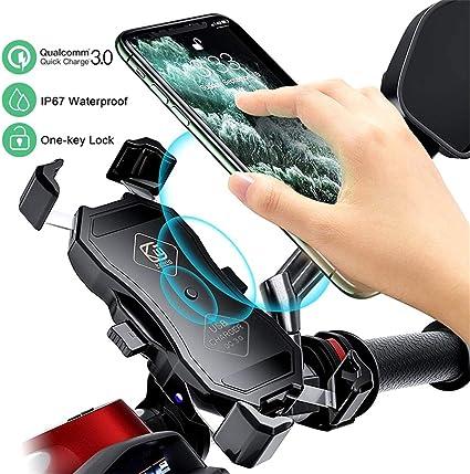 Myyingele Motorrad Handyhalterung Mit Qc3 0 Quick Charger Und Usb Ladegerät 360 Drehbare Wasserdicht Motorrad Handy Halter Für Alle 4 Inch Zu 7 Inch Handy Gps Qc3 0 Küche Haushalt