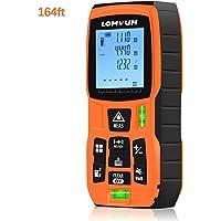 50m Télémètre, LOMVUM Compteur de distance laser numérique de 164ft avec fonction muet Grand écran ACL rétroéclairé, mesure de la distance, de la surface et du volume