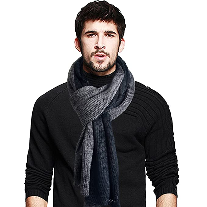 d2778b299947 Mens Long Scarf Soft Warm Thick Knit Winter Scarves (Black Grey)  Amazon.co. uk  Clothing