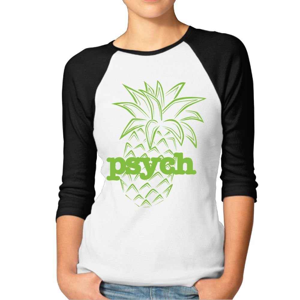 Hilary Women's Psych Pineapple Baseball Raglan Jersey T-Shirts 3/4-Sleeve