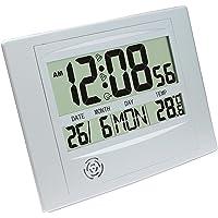 MagiDeal Large Digital LCD Calender Alarm Clock Temperature Snooze Quiet Clock - Silver, as described