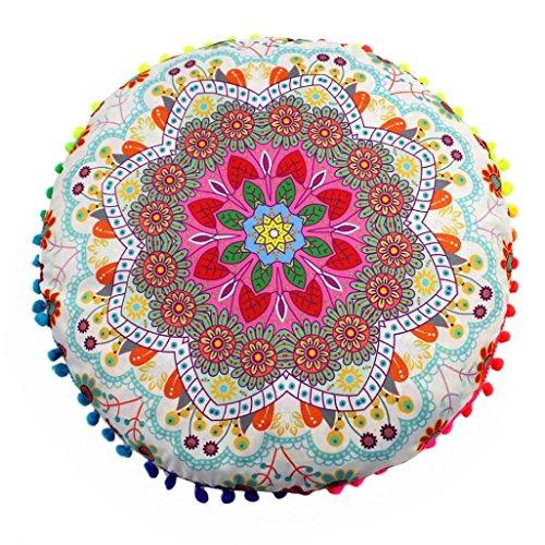 Indian Decor (KMG Round Pillowcase, Kimloog Indian Mandala Decorative Cushion Cover Bohemian Pillow Sham (D))