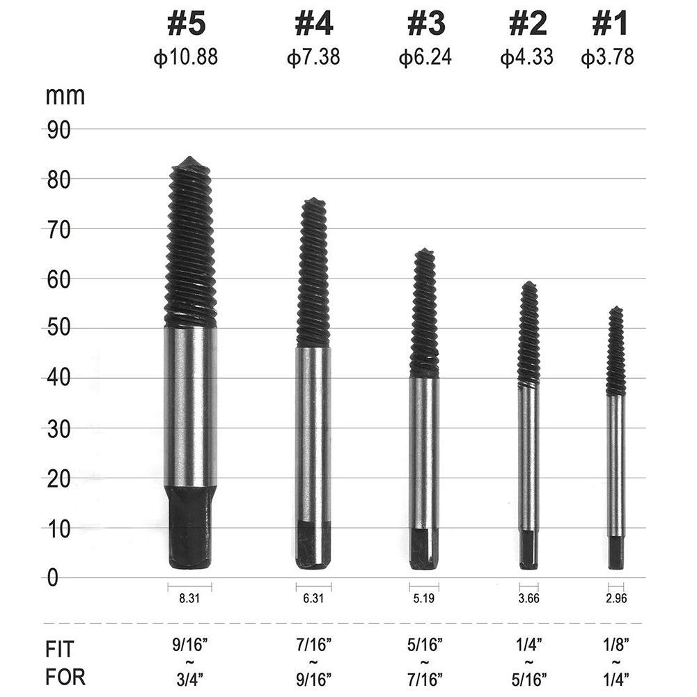 Damaged Bolt Screw Extractor TIAMAT Extractor Remove Set Hardness Broken Screw Bolts Extractors Easy Stripped 5 PCS