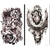 Latest new design and hot selling realistic tattoo stickers 2pcs in one package, it's including devil,angels with horse,heart with head temporary tattoos