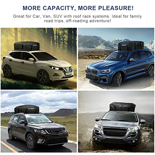 BougeRV Roof Top Cargo Bag Rack Carrier Waterproof Rooftop Cargo Luggage Bag Travel Storage Box for Jeep Car Truck SUV 15 Cubic Feet