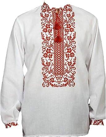 Camisa de manga completa bordada ucraniana, Sorochka para hombres, étnico nuevo tradicional patriótico: Amazon.es: Ropa y accesorios