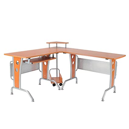 Amazoncom Homcom 67 Modern Corner L Shaped Computer Desk With