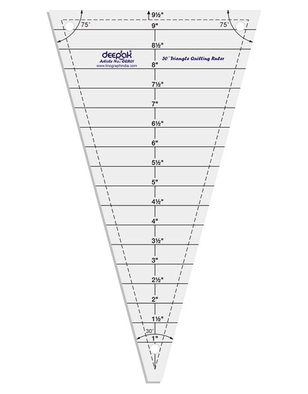 30 /° Dreieck-Form Quilt Entwerfen und Crafting Quilting Ruler Vorlage 9.5 Zoll