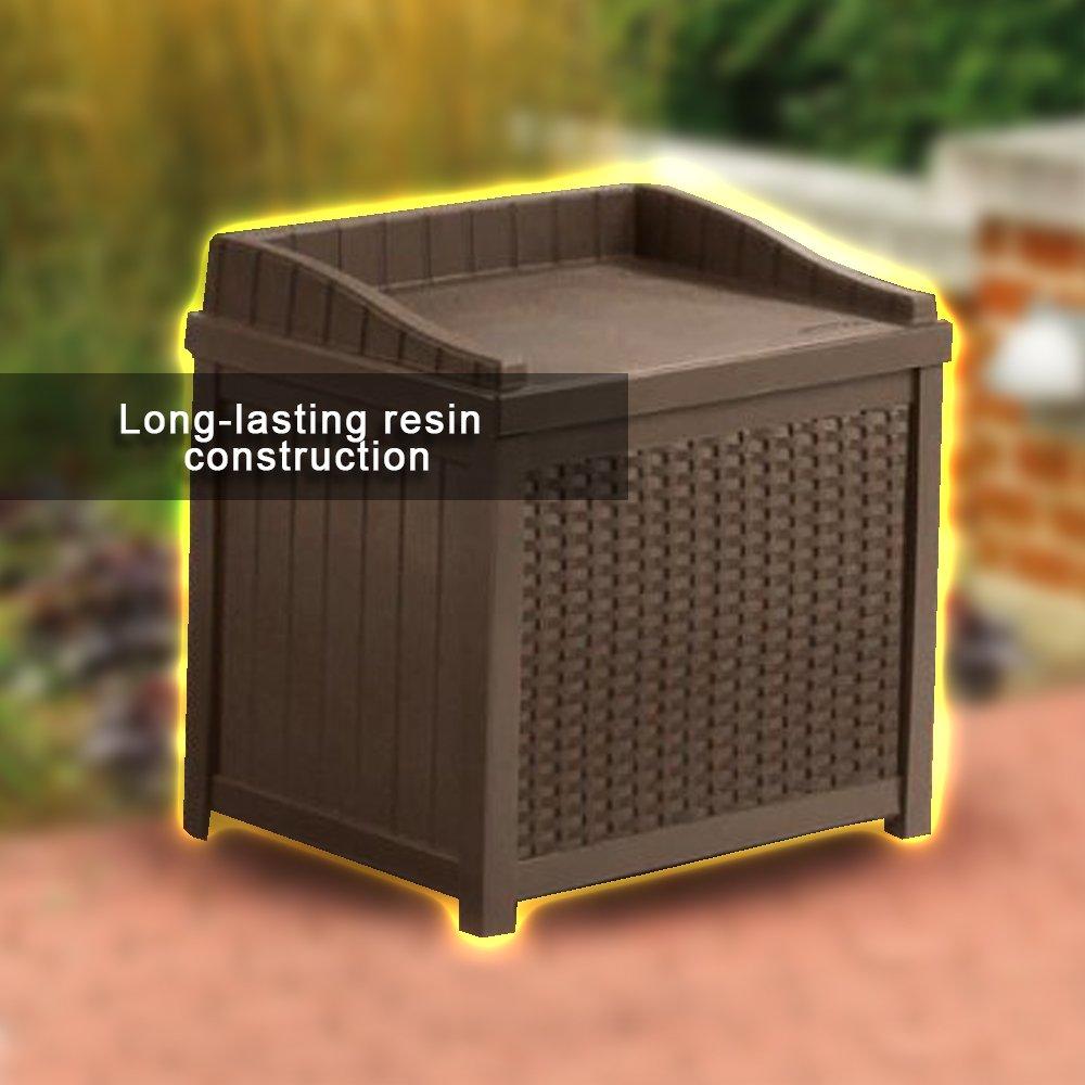 Amazoncom Resin Wicker Storage Cabinet 22 Gallon Java Resin Wicker