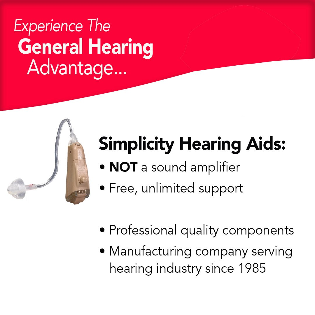 General Hearing Instruments Hearing Aid Simplicity Smart Touch Left Ear, Beige by General Hearing Instruments