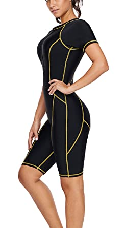 Asvivid Women s Color Block Short Sleeve Zip Front Rash Guard One Piece  Summer Modest Swimsuit Surfing 8dd49a258