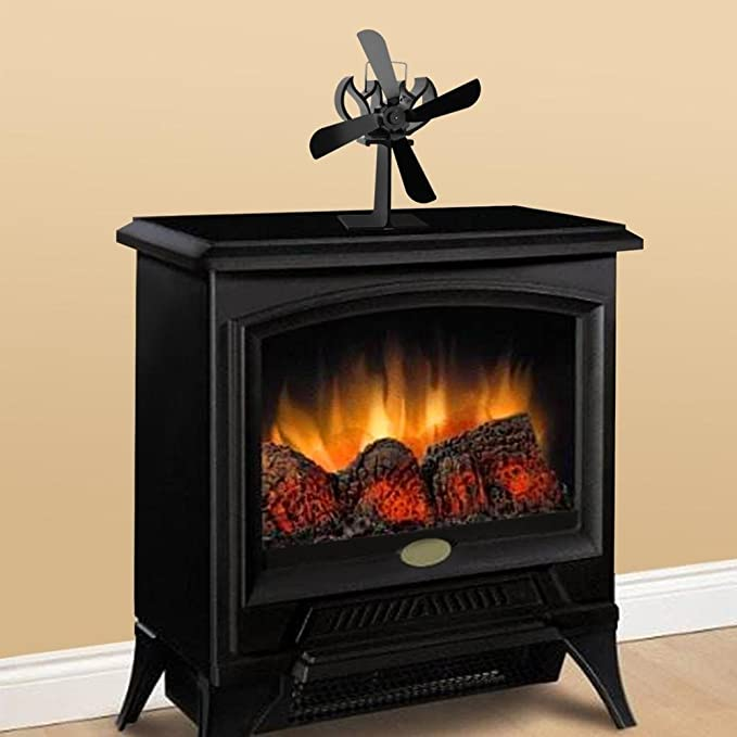 JOYOOO Ventilador de 4 palas para estufa de leña o chimenea,ecológica Ventilador de estufa calor con ventilador para madera/carbón/leña estufas quemador ...