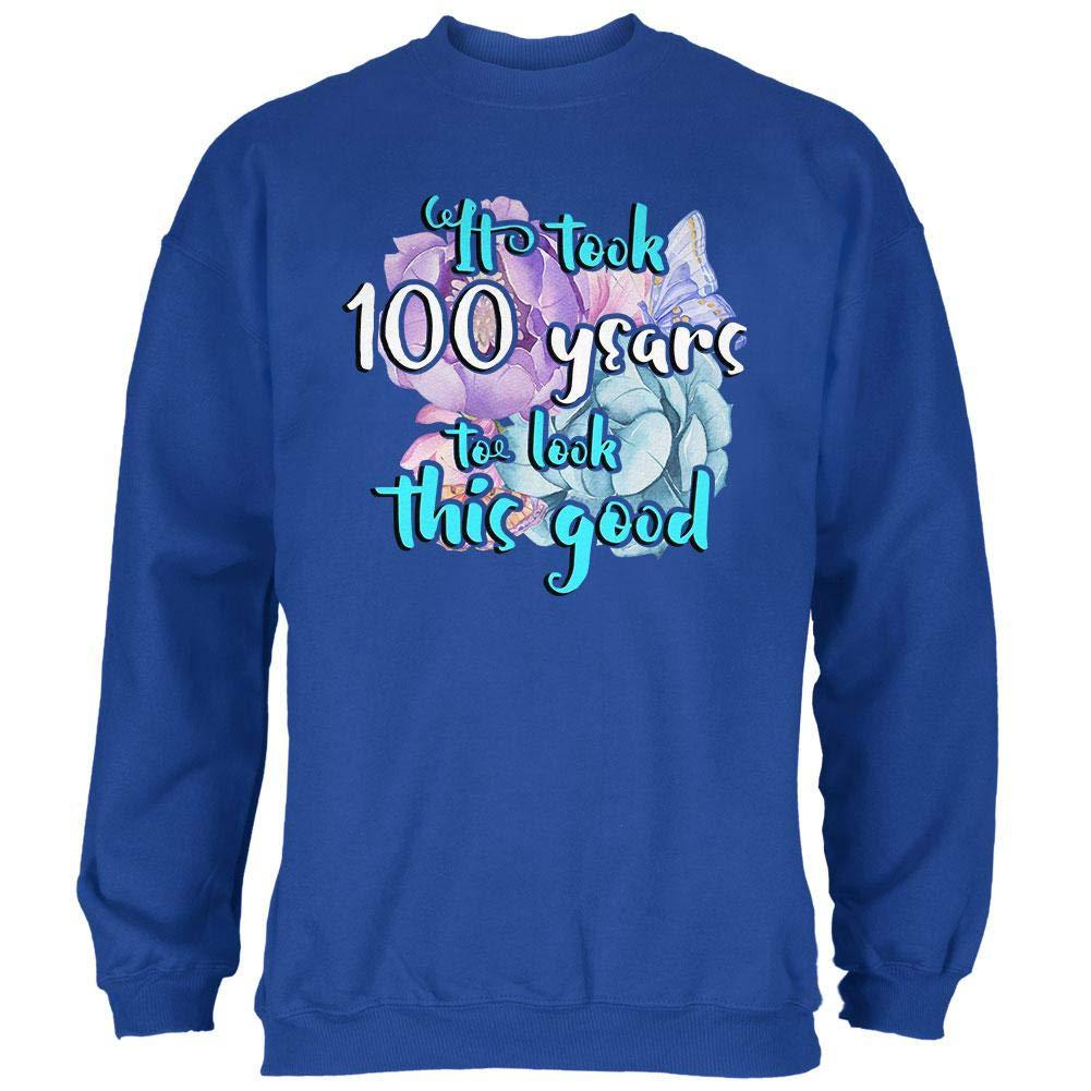 Old Glory Milestone Birthday 100 Years to Look This Good Flowers Mens Sweatshirt