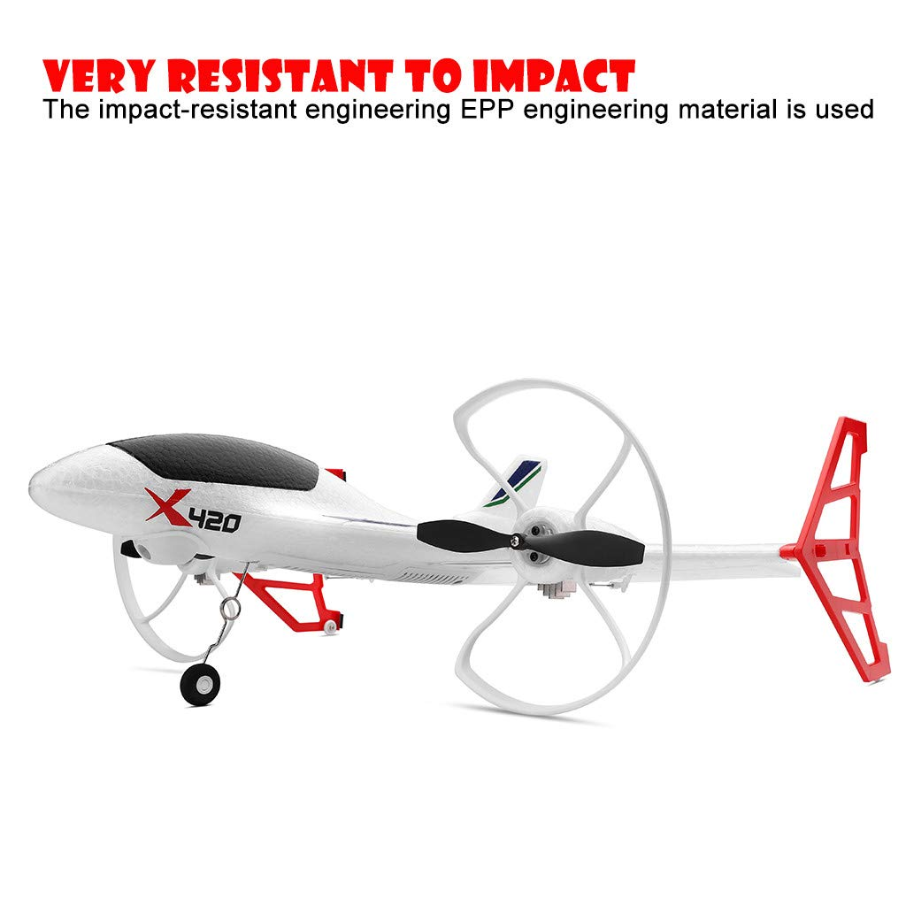 Hisoul X420 RC Airplane - 2.4G 6CH 3D/6G Aerobatic Vertical Take-Off Remote Control Glider - 340mm Wingspan Fixed-Wing RC Airplane, for Beginners Best Gift (♥ White) by Hisoul (Image #5)
