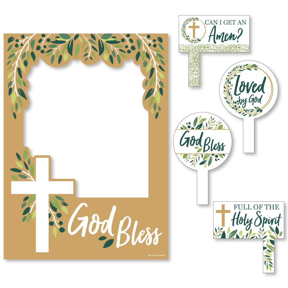 Elegant Cross - Religious Party Selfie Photo Booth Picture Frame and Props - Printed on Sturdy Material