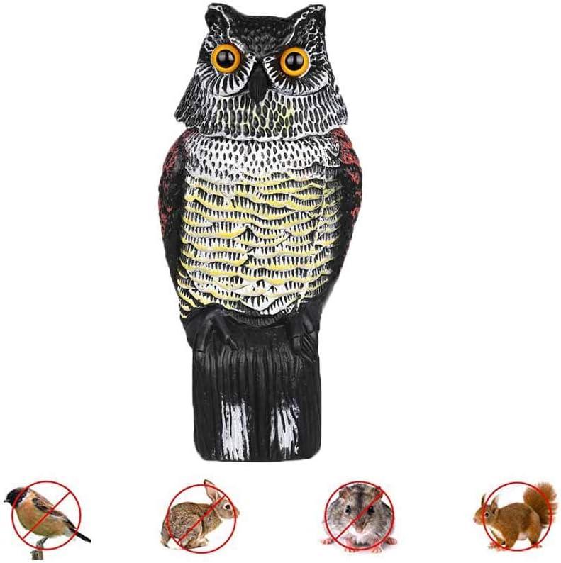 Ruimada - Señuelo de pájaros – Dissuasivo de pájaro, Aves, ahuyentador de pelar, búho para los Ojos realistas controlados por el pájaro y búho de Forma Impermeable