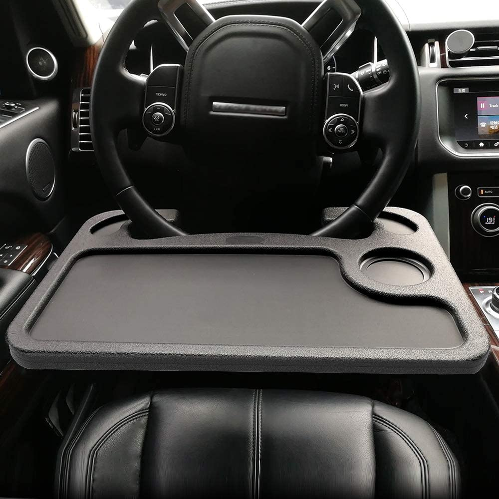 ElfAnt Car Steering Wheel Tray for Writing Laptop Dining Food Drink Work (Black)