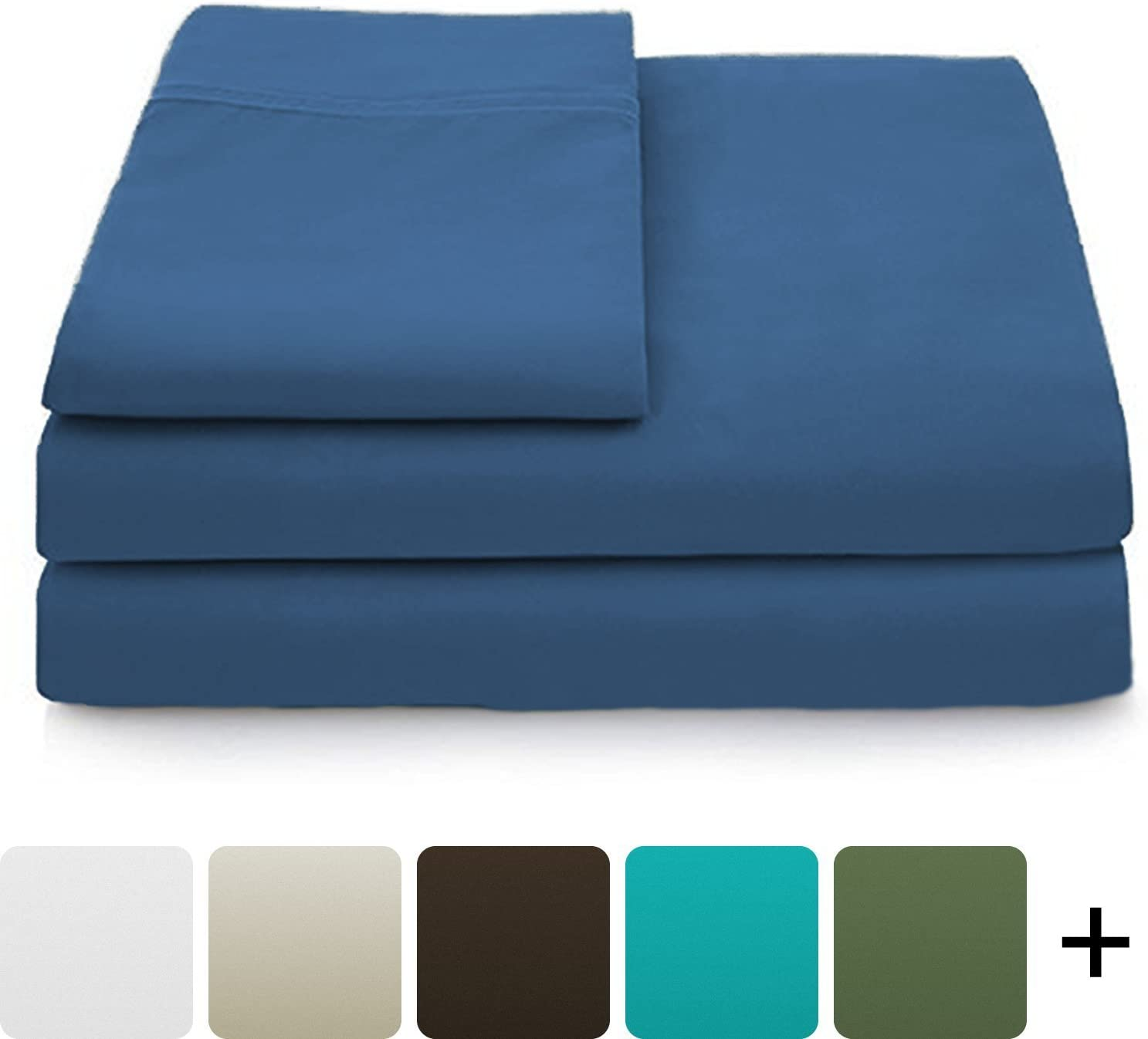 Cosy House Collection Luxury Bamboo Sheets - 5 Piece Bedding Set - High Blend from Natural Bamboo Fiber - Soft Wrinkle Free Fabric - 2 Fitted Sheets, 1 Flat, 2 Pillow Cases - Split King, Royal Blue