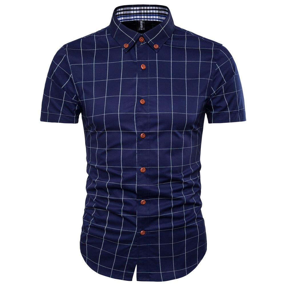 MUSE FATH Short Sleeve Shirt-100% Cotton Plaid Shirt-Easycare Short Sleeve Shirt-Deep Blue-L