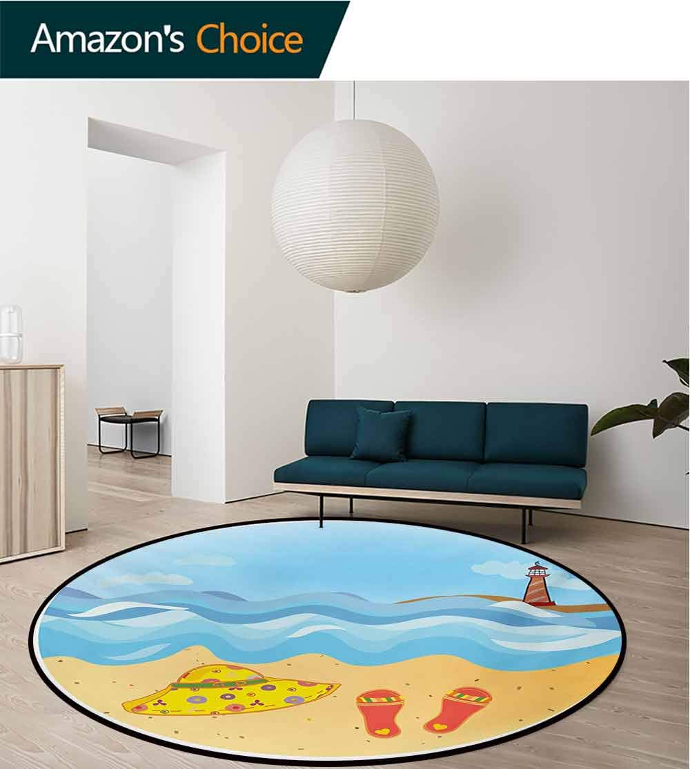 RUGSMAT Lighthouse Machine Washable Round Bath Mat,Colorful Minimal Doodle Lighthouse Beach Sea Waves Sand Hat Slippers Cloudy Day Non-Slip No-Shedding Bedroom Soft Floor Mat,Round-71 Inch