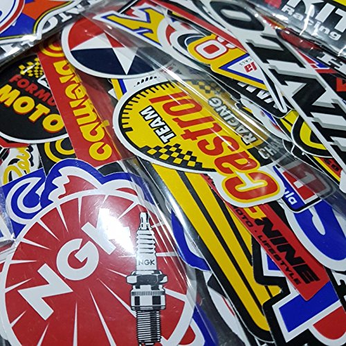 100 Pcs of Sponsor Stickers for Car Racing Vintage Decal and Rare Original Motocross Motorcycle Sticker (Racing Sponsor Decals)