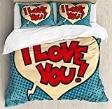 Ambesonne I Love You Duvet Cover Set King Size, Pop Style Comic Strip Valentine's Bubble Artistic Cartoon Graphic, Decorative 3 Piece Bedding Set with 2 Pillow Shams, Petrol Blue Red Ivory,