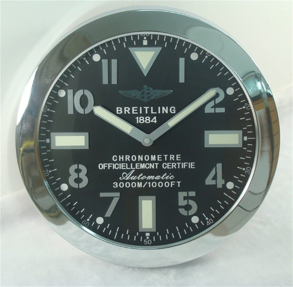 Breitling Luminous Silent Sweep Wall Clock, Silver+Black