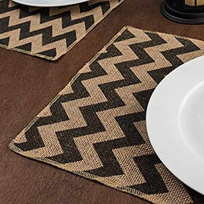 LinenTablecloth 12 x 18 in. Chevron Burlap Placemats Charcoal 4/Pack - 100percent natural burlap placemats measure 12 x 18 inches Surged edge to prevent fraying Jute placemats feature charcoal jute chevron stripes - placemats, kitchen-dining-room-table-linens, kitchen-dining-room - 616xR63n3jL. SS400  -