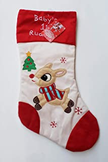 a49092a35ab Dan Dee 18 Inch Rudolph The Red Nosed Reindeer Babys 1st Christmas Stocking