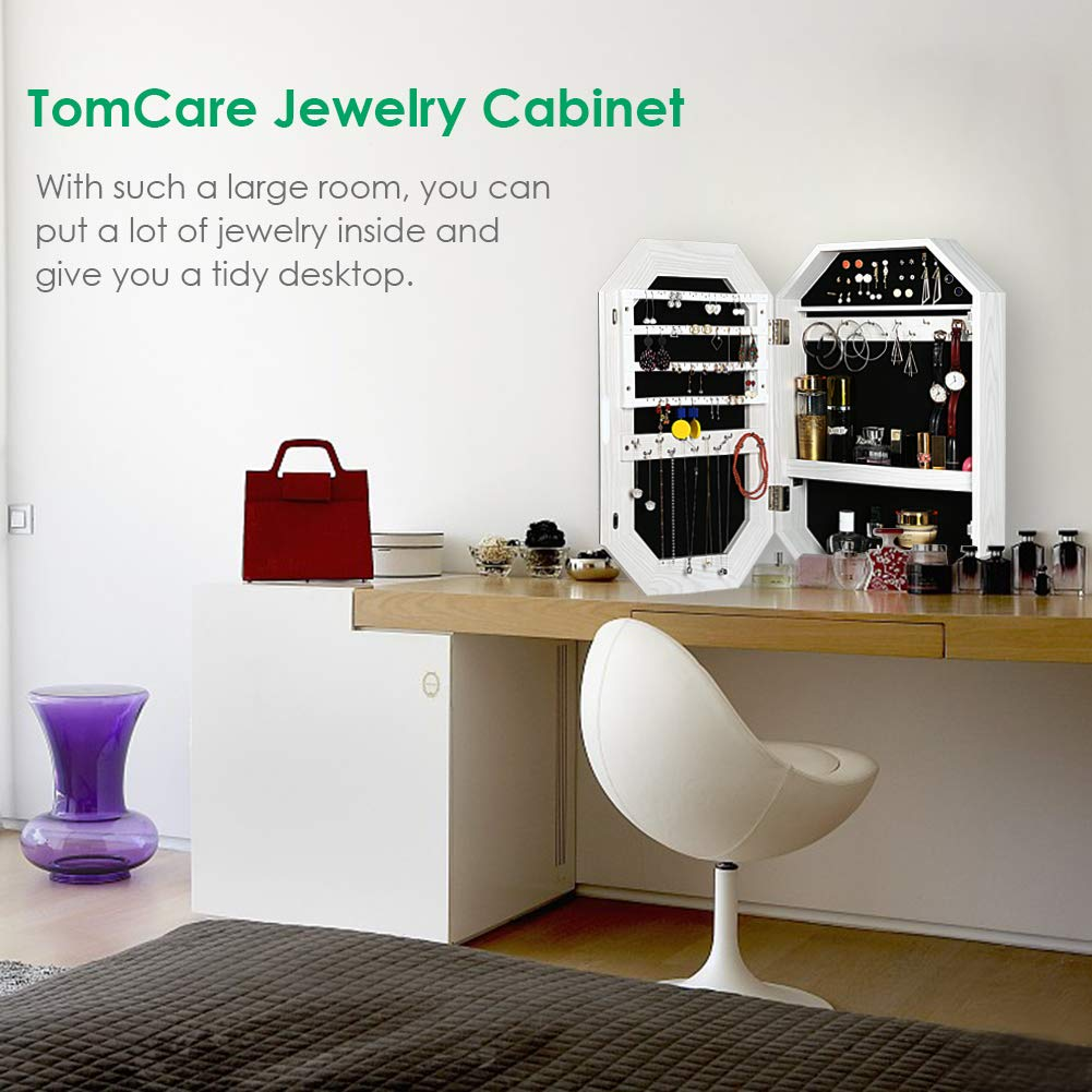 TomCare Jewelry Cabinet Jewelry Armoire Wall Mounted Jewelry Organizer Eight Edge with Frameless Mirror Earring Organizer Thickened Jewelry Box Space Saving Jewelry Storage Organizer White
