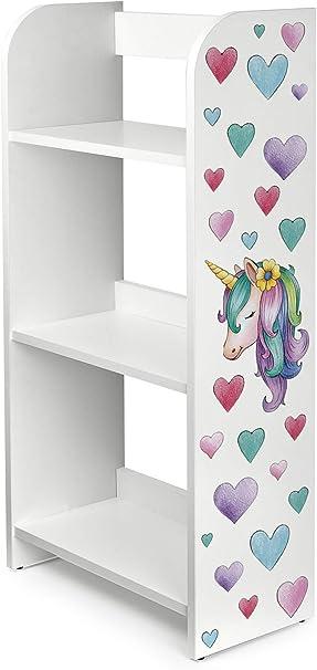 Leomark Estantería de Madera para Niños - Unicornio - Tres Estantes, Librero para Dormitorio, Altura 102,5 cm