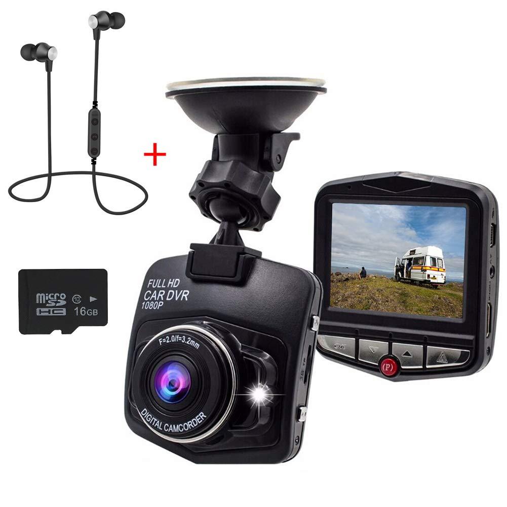 Dash Cam-car Caméra Dash Cam-min Caméra de voiture Caméra Recorder-full HD 1080p Intégré de capteur Détection de mouvement Enregistrement en boucle Black+16G Card Anhomie