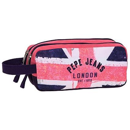 Pepe Jeans Estuche de 2 Compartimentos, Diseño Bandera, Color Rosa