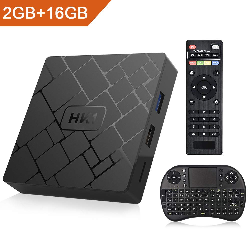 2019 Android 7.1 TV Box HK1, 2GB Ram 16GB ROM Amlogic S905W Quad Core 64 Bits WiFi Mini-PC,Support 4K Ultra HD,H.265,HDR with Free Remote Keyboard Haswe
