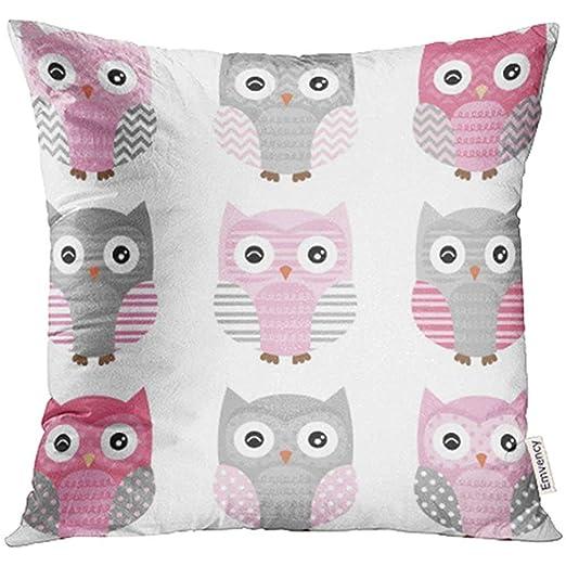 Dora Will Fundas de cojín Azul Chevron Rosa y Gris Cute Owl ...