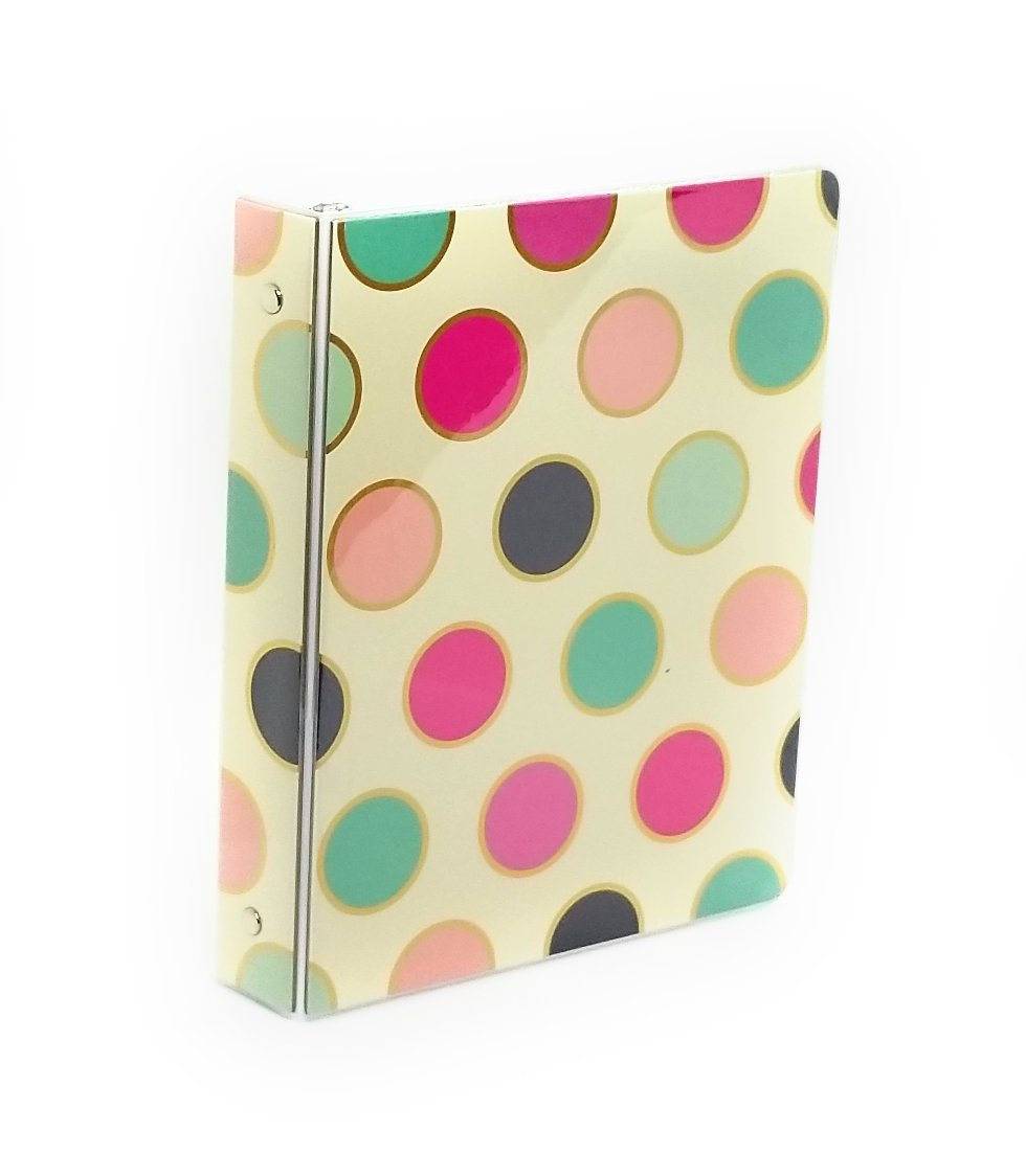 1'' Mini Binder,Vinyl, 9'' x 7'' ''Mery Beth'' Collection by Pink Light Design … (Multicolor Polka Dots)