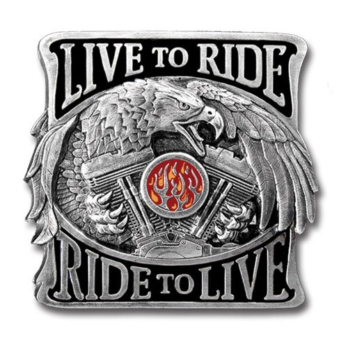 Siskiyou Gifts Live To Ride Enameled Metal Hitch Cover STH81B
