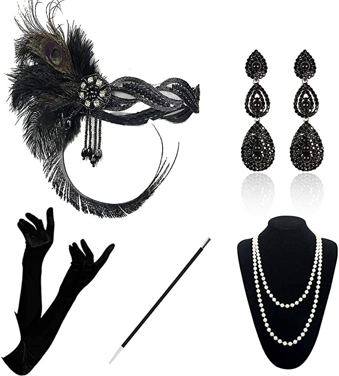 1920s Headband, Headpiece & Hair Accessory Styles 1920 Accessories Set - 1920s Flapper Costume Fancy Dress Gastby Accessories Vintage Feather Headband With Long Gloves For Women (Black) £14.99 AT vintagedancer.com