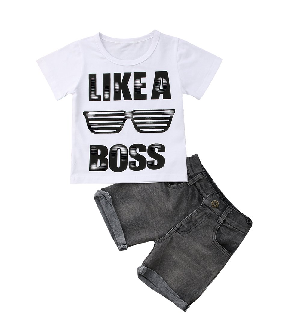 Casual Toddler Kids Boys Girls Tops T-Shirt Denim Pants Outfits Set Clothes 1-6Y (2-3 Years)
