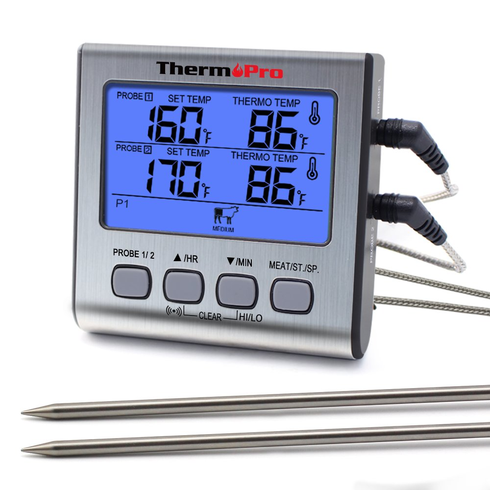 ThermoPro TP17 Dual Probe Digital Cooking Meat Thermometer Large LCD Backlight Food Grill Thermometer with Timer Mode for Smoker Kitchen Oven BBQ by ThermoPro
