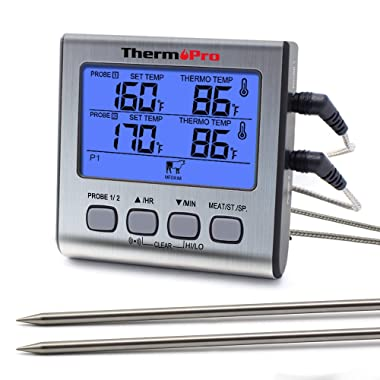 ThermoPro TP-17 Dual Probe Digital Cooking Meat Large LCD Backlight Food Grill Thermometer with Timer Mode for Smoker Kitchen Oven BBQ, Silver