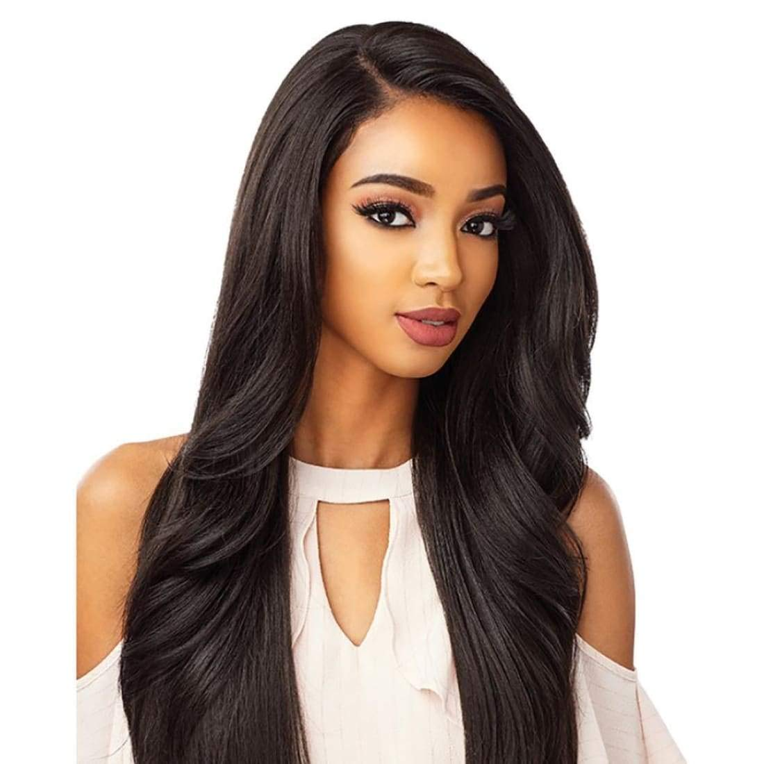 Sensationnel 100% Premium Fiber Cloud9 WHAT LACE? 13''X6'' Swiss Lace Wig - MORGAN (1B [Off Black]) by Sensationnel