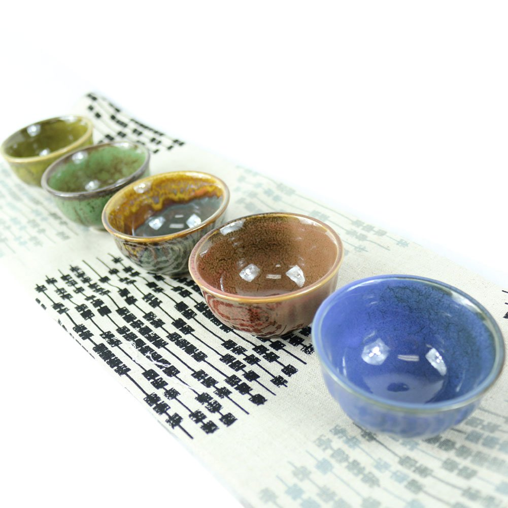 Set of 5, Handcrafted Ceramic Pottery Porcelain Traditional Sake Serving Cup Set Glazed Wine Cold/Hot Sake Set