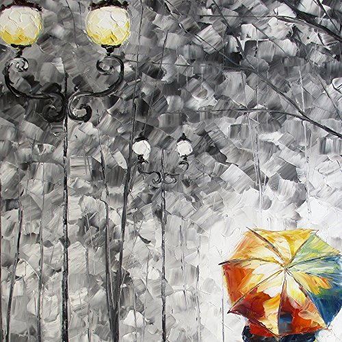 Black and White Painting Pictures Canvas Wall Art Modern Abstract Art Prints Romantic Couple with Umbrella Walking in the Rain Home Decor for Bedroom Stretched and Framed Ready to Hang