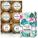 Bath Bomb for Sensitive Skin 6 Xtra Large and Lush Bath Bomb Mothers Day Gift Set - Bath Bombs Kit Includes Konjac Sponge - Use with Bath Body Bath Bubbles and Bath Beads - USA Made Bath Basket - Unique Gift Ideas