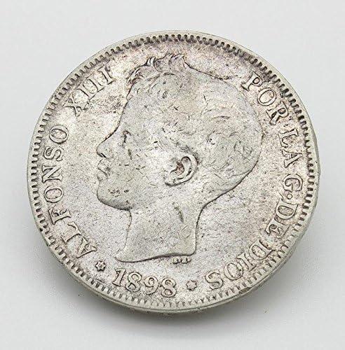 Desconocido Moneda de 5 Pesetas del Año 1898. Moneda de Plata ...