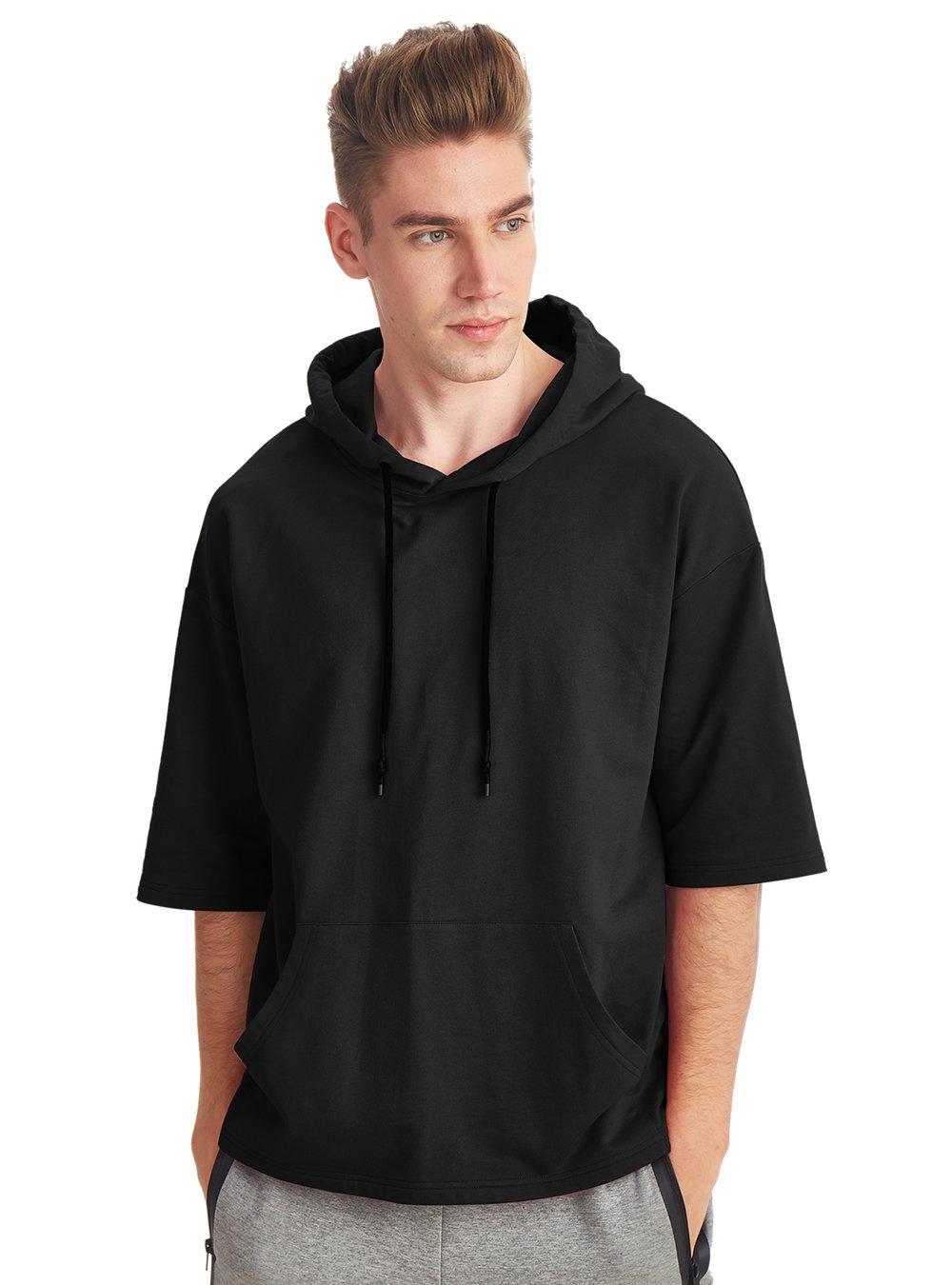 Zengjo Men's Short Sleeve Active Sportwear Hip Hop Sweatshirt Solid Fashion Hoodie T-Shirt (XXL, Black)